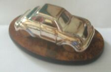 VINTAGE SILVER PLATED DIECAST VW CABRIOLET ON WALNUT BASE, MADE IN ITALY