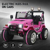 12V Electric Ride On Car Kids Jeep Toys Powered Remote Control Wheel Pink Music
