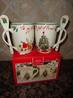 LENOX HOLIDAY INSPIRATIONS & ILLUSTRATIONS GIFT OF FRIENDS COCOA 2 MUGS & SPOONS