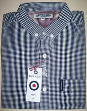 BNWT LAMBRETTA SHORT SLEEVE SHIRT GINGHAM BLACK RRP £50 ~ FREE UK TRACKED P&P