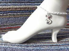 bracelet beads anklet stretchy handmade Cat kitty enamel charm ankle