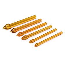 6pcs Titanium Drill Bit Carbide Tile & Glass Cross Spear Head 6/8/10/12mm