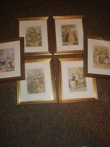 6 rare George baxter prints