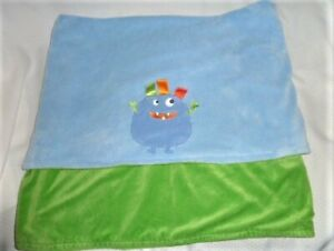 TAGGIES BLUE & GREEN PLUSH ALIEN MONSTER BLANKET 30X40