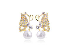 Gold tone crystal and pearl butterfly stud earrings, Super cute