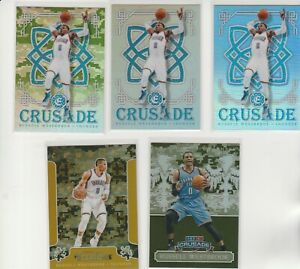 RUSSELL WESTBROOK CRUSADE RAINBOW LOT (5) DIFFERENT W 1 #'D 2016-17 SILVER CAMO