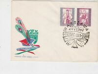 Poland 1960 Polish Folk Costumes +  Slogan Cancel FDC Stamps Cover ref 22973