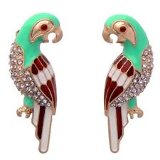 RUBY RED GREEN ENAMEL CRYSTAL RHINESTONE Designer Figural Parrot Bird Earrings