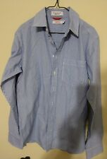 IZOD youth Blue and White Pinstripe Long Sleeve Button Down Shirt youth Large