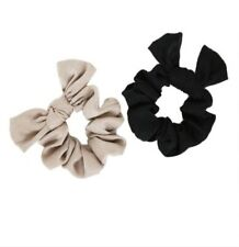 Ettika Bella Crepe Satin Hair Scrunchie Set in Black and Beige - New