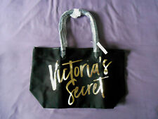 Victoria's Secret black canvas tote shopping bag gold writing New with Tag