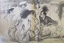 REVUE CARICATURE HUMORISTIQUE LE RIRE 1900 JAPON THEATRE KAWAKANI et SADA YACCO