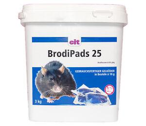 CIT BrodiPads 25 ppm Gelpads 3kg Brodifacoum Rattengift < 0029% Mäusegift Pasten