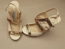 JIMMY CHOO GOLD STUD CROCHET PLATFORM SANDALS>BN>£380+>5.5uk - 38.5>HEELS>SHOES