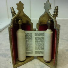 Small Brass Scroll Holder & Scroll . . . . .Paper jewish judaica torah old style