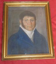 """Beau pastel début du 19 é siécle """"portrait d'homme à la veste bleu """""""