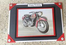 Handmade Happy Birthday card 3D decoupage Vintage Motorbike BSA Super Rocket