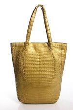 Nancy Gonzalez Golden Tone Alligator Skin Tote Handbag