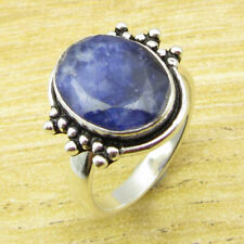 SIMULATED SAPPHIRE Ring Size 8 ! Silver Plated Jewelry