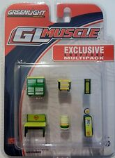 Greenlight 13152 Muscle 6pc Diorama Set Shop Tools Shell 1:64 Scale RARE CHASE