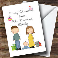 From Our Family Boy Baby Cat Personalised Christmas Card