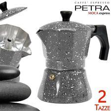 Caffettiera 2 Tazze Petra Stone Alluminio MOKA Caffè Espresso Macchinetta Caffè