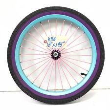 "18"" Bicycle Front Blue Wheel with 1.95""  Black & Purple Tire Kid's BMX Bike -k58"