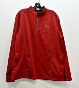 Under Armour Mens Red 1/4 Zip Long Sleeve Slash Pocket Pullover Jacket XL