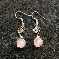 Beautiful Natural Rose Quartz Gemstone small drop dangly earrings silver plated