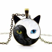 Tai Chi Yin and Yang Tortoiseshell Cat Time Gem Glass Pendant Necklaces Chain