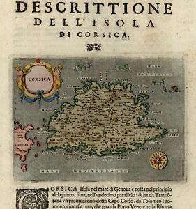 Corsica Italy sea monsters compass rose cartouche 1620 Porcacchi rare old map