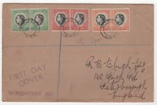 1937 SOUTH WEST AFRICA First Day Cover KGVI CORONATION Windhoek to Peterborough