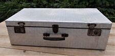 Vintage retro large aluminium metal suitcase,