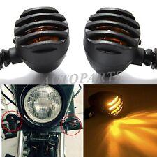 Motorcycle Black Grill Bullet Blinker Turn Signal Light F Bobber Chopper Cruiser