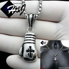 "20""Stainless Steel 3mm Silver Box Chain Necklace Boxing Glove Cross Pendant*P75"