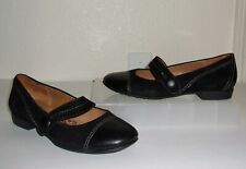 Sofft Black Leather & Suede Mary Jane Loafers Size 7 Shoes Flats