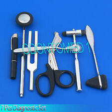 7 PCS NEUROLOGICAL PERCUSSION REFLEX TAYLOR BUCK HAMMER PINWHEEL DIAGNOSTIC,C512