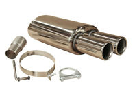 STAINLESS STEEL FIAT PUNTO GRANDE SPORTS TWIN UNIVERSAL EXHAUST BACK BOX 012