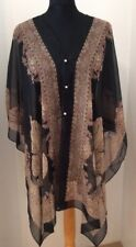 Floaty Black And Natural Paisley Style Pattern Kaftan Beach Cover Up