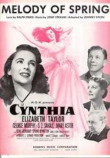 "CYNTHIA Sheet Music ""Melody Of Spring"" Elizabeth Taylor George Murphy Mary Astor"