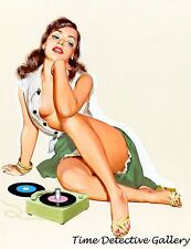 Vintage Pin-up Girl Listening to Records - Giclee Photo Print