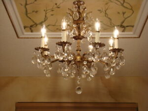 SPECTACULAR OLD BRASS BRONZE & CRYSTAL DOUBLE CROWN CHANDELIER