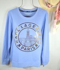 NEW Karl Lagerfeld Paris Women's French Blue Eiffel Tower Sweatshirt Top L