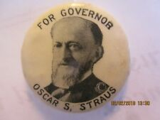 1912 Oscar Straus For Governor NY Political Campaign Pinback Button 7/8""