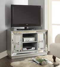 Corner Silver Venetian Mirrored Glass 2 Door Mock Croc TV Unit Stand Cabinet