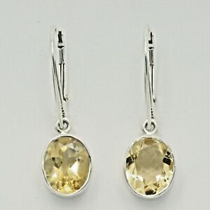 Genuine Natural Yellow CITRINE Oval Earrings 925 STERLING SILVER Leverback #13