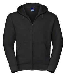 266MRussell Authentic Zip Hooded Sweatshirt Black