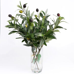 Olive Tree Branches Artificial Olive Plant Branches Fruits Silk Olive Leaves HOT