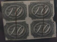 O) 1844 BRAZIL, INCLINADOS  . INCLINED - 10 reis black- SC 7,BLOCK OF 4 XF USED