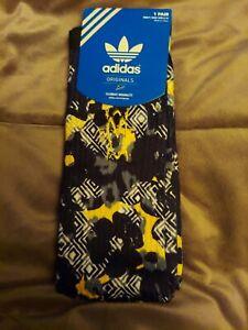 Adidas Socks large crew,  black, yellow, gray and white